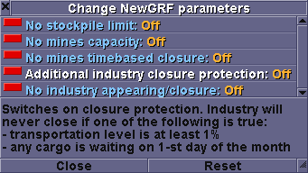 NewGRF parameters window